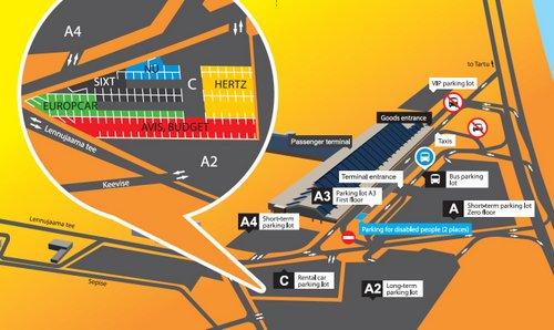Autonvuokraus Tallinnan lentokentällä kartta