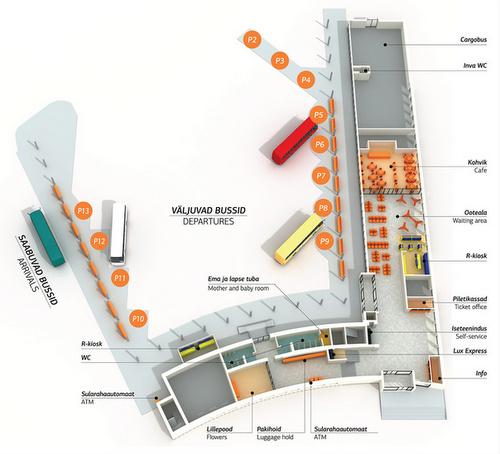 Tallinnan bussijaam sisätilojen kartta
