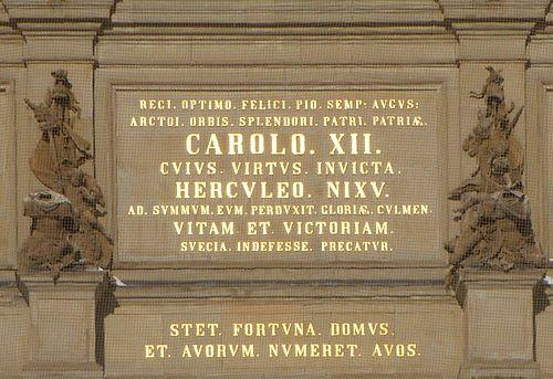 Omistuskirjoitus kuningas Kaarle XII Tukholman kuninkaanlinna