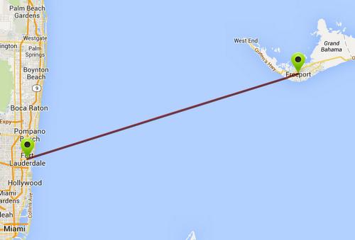 Fort Lauderdale Freeport Bahama lauttareitti kartta