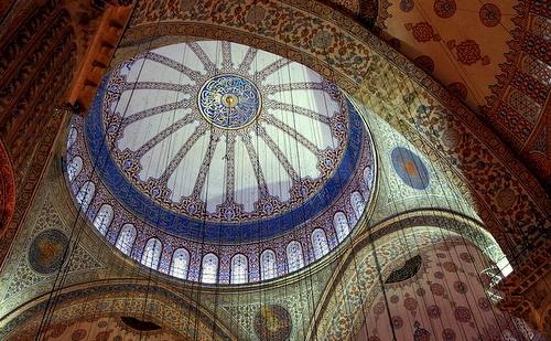 Sininen moskeija siniset tiilet pääkupoli Istanbul