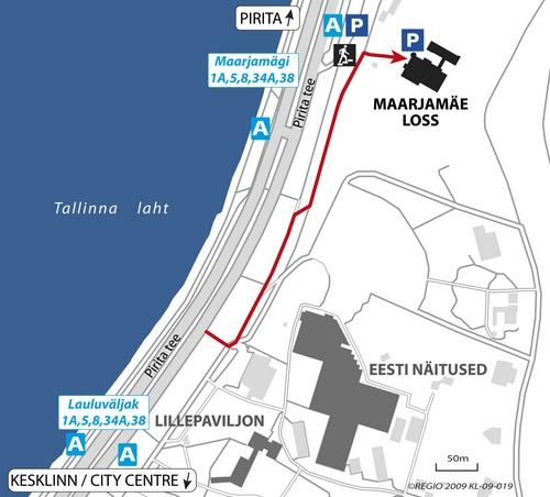 Kartta Maarjamäen linnaan Tallinnassa
