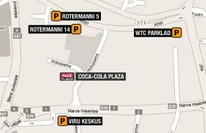 Coca-Cola Plaza sijainti kartta Tallinna