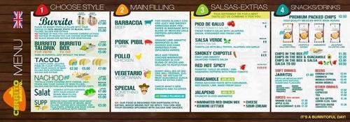 Cerrito Burrito ruokalista Solaris Keskus Tallinna
