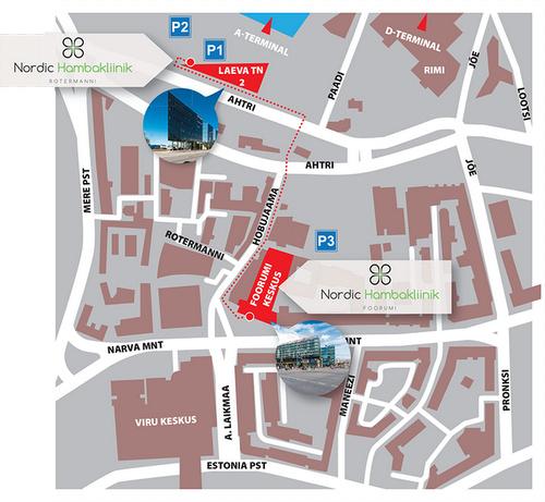 Nordic Hambakliinik hammashoitola kartta Tallinna