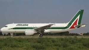 Alitalia lentokone Milano-Linate lentoasema Italia
