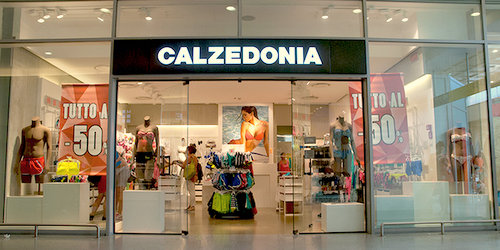 Calzedonia store at Santa Lucia train station in Venice, Italy.