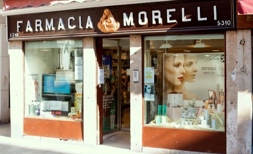 Farmacia Morelli pharmacy in Venice, Italy.