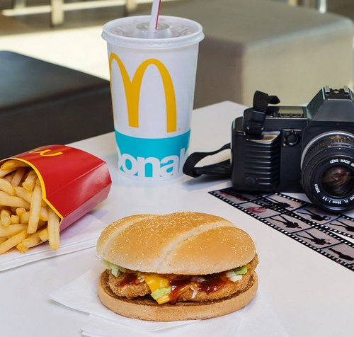 McDonald's hamburger meal, available in Venice, Italy.