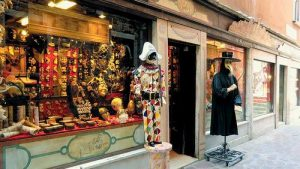 Ca' Macana Venetian masks store in Venice, Italy.