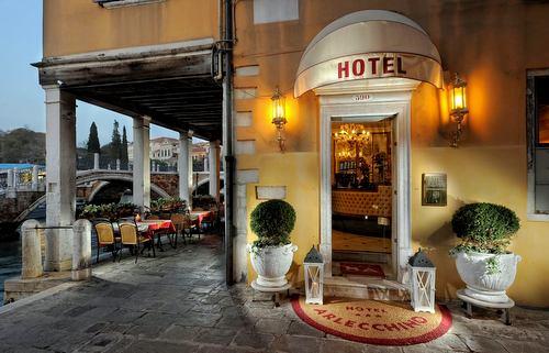 Hotel Arlecchino Venezia's entrance in Venice, Italy.