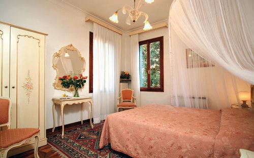 Hotel Bernardi guest room in Venice, Italy.