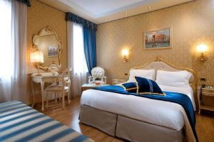 Hotel Olimpia's guest room in Venice, Italy.