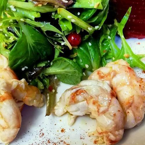 Osteria Trefanti's Gamberoni Marinati meal, available in Venice, Italy.