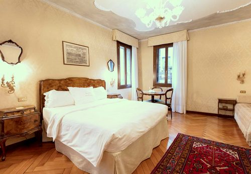 Hotel Flora guest room in Venice, Italy.