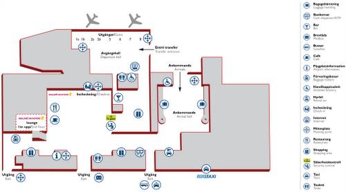 Bromman lentokentän kartta Tukholma