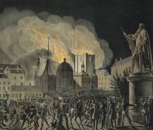 Riddarholmenin kirkon palo 1835 maalaus