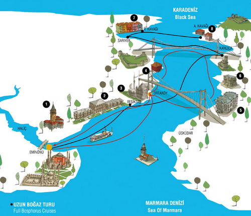 Şehir Hatların Bosporinsalmen kokopäivän risteilyt kartta Istanbul