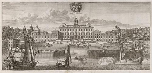 Drottningholmin linna 1692 piirros satama