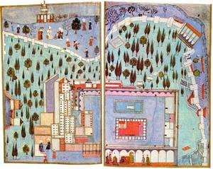 Hunername miniatyyrimaalaus Topkapi-palatsin kolmannesta sisäpihasta