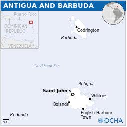 Kartta Antiguan ja Barbudan saarista