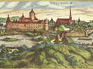 Suurkirkko ja Tre Kronor linnoitus maalaus vuodelta 1570
