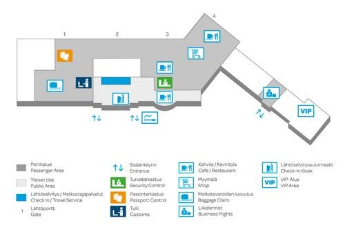 Vaasan lentokentän terminaalikartta