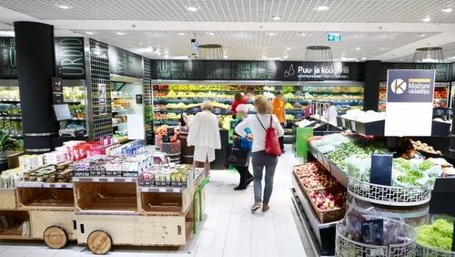Kaubamaja Toidumaailm gourmet-ruokakauppa Virukeskus Tallinna.
