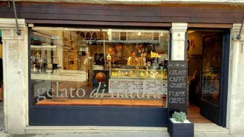 Gelato di Natura ice cream shop at Cannaregio sestiere in Venice, Italy.