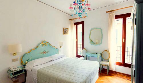 Guest room at Hotel Serenissima in Venice, Italy.