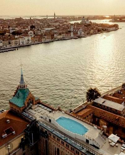 Hilton Molino Stucky Venice rooftop pool in Venice, Italy.