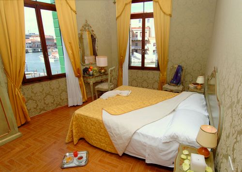 Hotel Canal guest room in Venice, Italy.