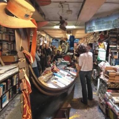 Libreria Acqua Alta bookstore in Venice, Italy.